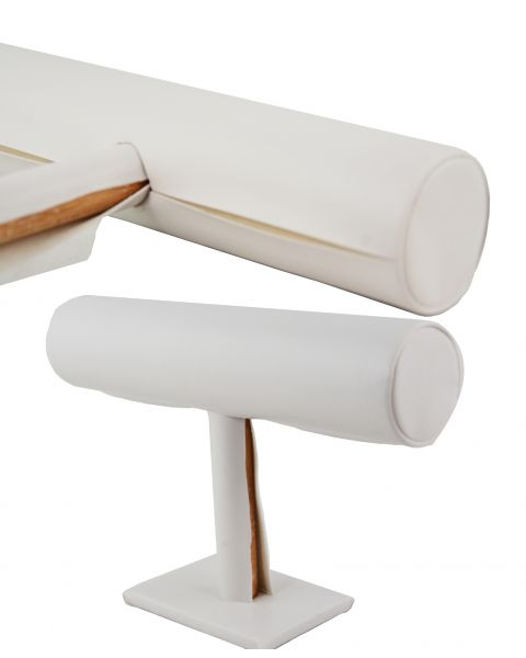 5 x White Leatherette T-Bar Display Stands *Clearance*