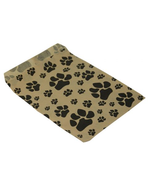 100 Kraft with Black Dog Paw Print Paper Gift Bags