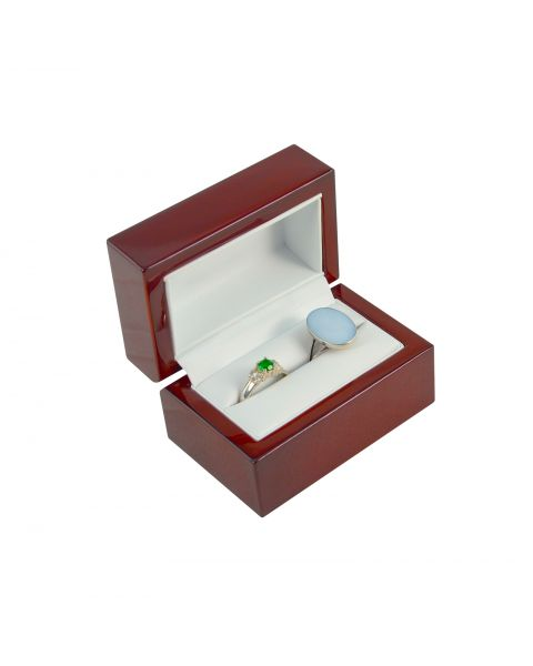 Premium Glossy Rosewood Veneer Wooden Double Ring Box - BDR5(RW) - from £8.95 each
