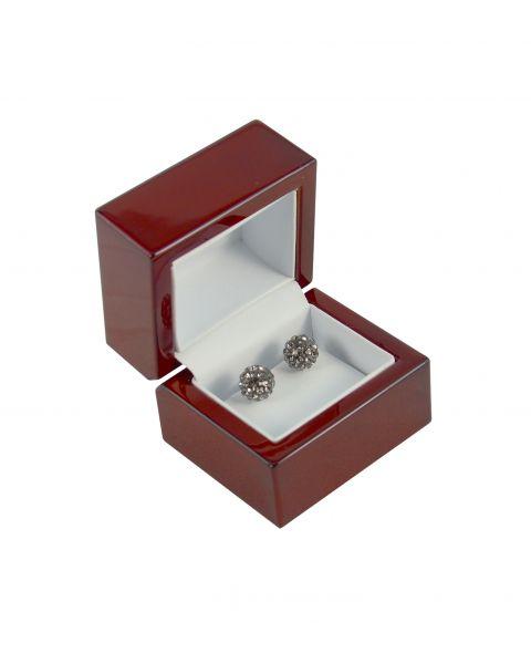 Premium Glossy Rosewood Veneer Wooden Earring Box - BDE3(RW) - from £6.25 each
