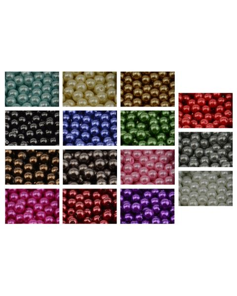 Large Lot of 4-10mm Mixed Color Dyed Round Glass Pearl Beads Pearls Beads for Jewellery Making