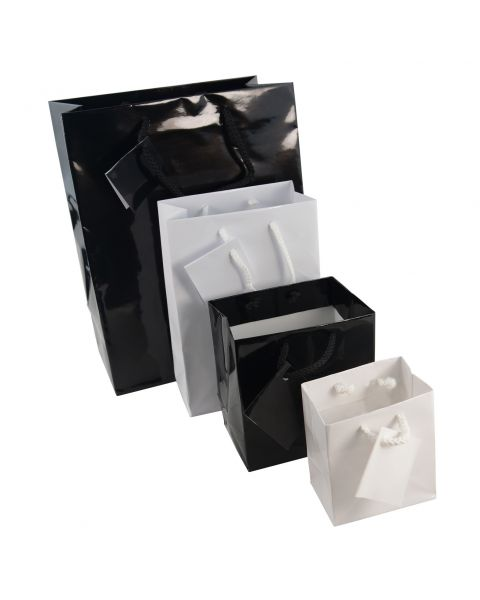 Glossy White or Black Drawstring Gift Bags with Tags - Pack of 20 from £5.99