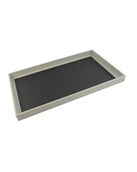 1 Inch Deep Wooden Display Tray with Grey Leatherette Finish