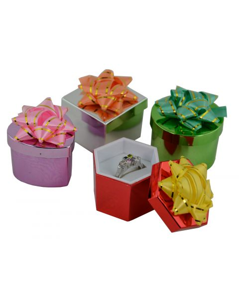 48 x Shiny Metallic Hat Ring Boxes Assorted Colours & Shapes