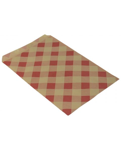 """100 Kraft with Red Checker Paper Gift Bags - 6 x 9"""""""