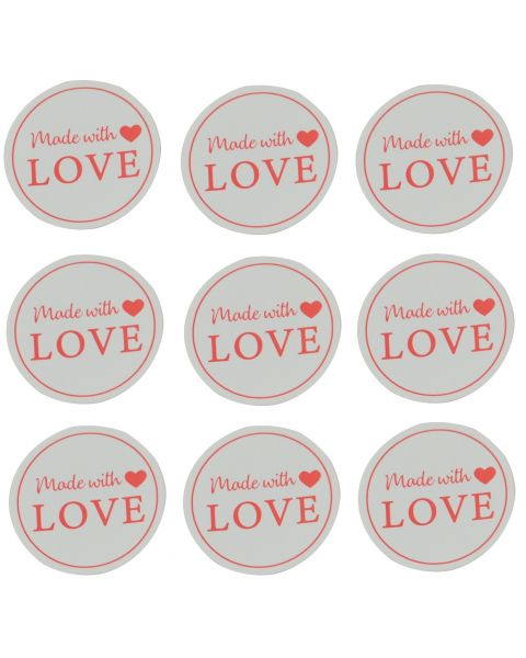 """Self Adhesive Labels - Round """"Made With Love"""" Print - Pack of 510"""