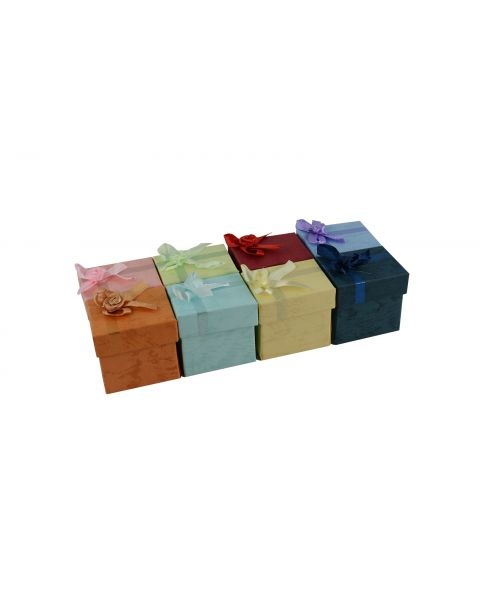 16 x Assorted Colours Ring Boxes with Bows from 44p each