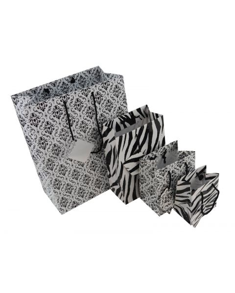 Zebra & Damask Print Drawstring Gift Bags & Tags - Pack of 20 from £5.99