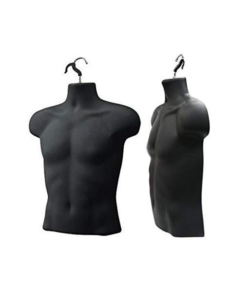 Hanging Male Upper Body Mannequin Black - **CLEARANCE**