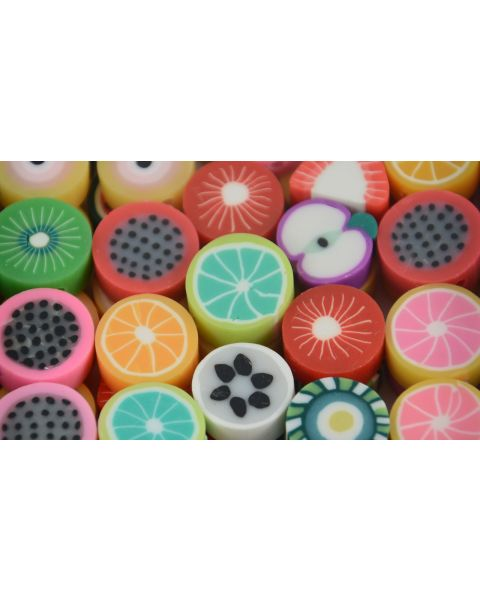 Pack of 20 Assorted Fruit Jewellery Making Clay Beads