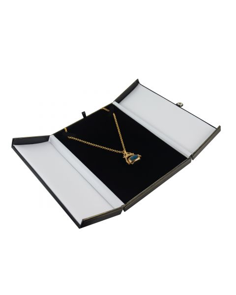 Black Double Door Button Necklace Box from £6.50 each - (BDN7-BK)