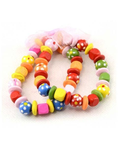 Pack of 12 Childrens Wooden Bracelet's (KidsBRAC2) only 20p Each