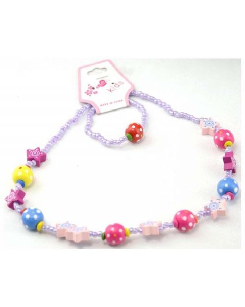 Pack of 12 Kids Wooden Ball & Seed Bead Necklace & Bracelet Set (280452-152) only 30p Each