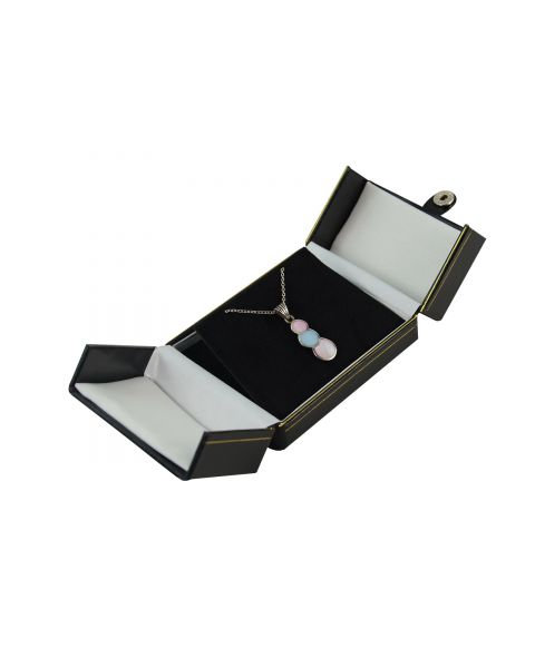 Black Double Door Button Pendant/Drop Earring Box from £2.90 each (BDE9-BK)