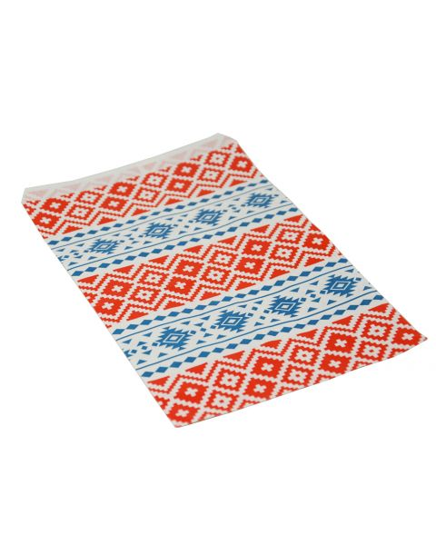 100 Red & Blue Tribal Print Paper Gift Bags From £2.49