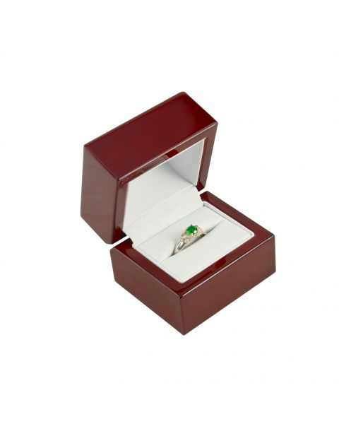 Premium Glossy Rosewood Veneer Wooden Ring Box - BDR3(RW) - from £6.25 each