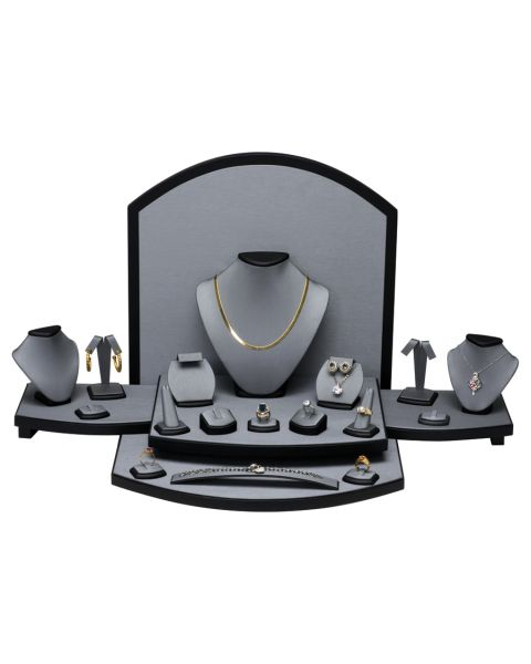 Showcase Set Steel Grey leatherette with Black leatherette Trim (SET 54- 87R) ** CLEARANCE **
