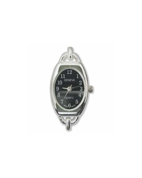 Silver Plated Watch with Black Face - (WFBSB-1)
