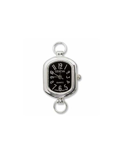 Silver Plated Watch with Black Face - (WFCL-8BK)