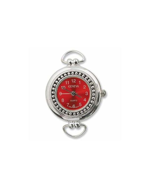 Silver Plated Watch with Red Face - (WFCL-11RE)