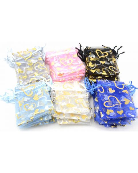 Pack of 12 Organza Pouches with Silver & Gold Heart Print 7x9cm from only 12p each