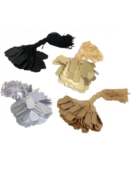 1000 Jewellers Tie on Tags - Colour Choice - Gold, Silver, Kraft, White & Black