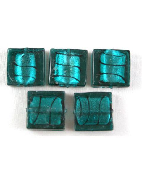 Turquiose Green Flat Square Lampwork Glass Beads 20x20mm (2-16)