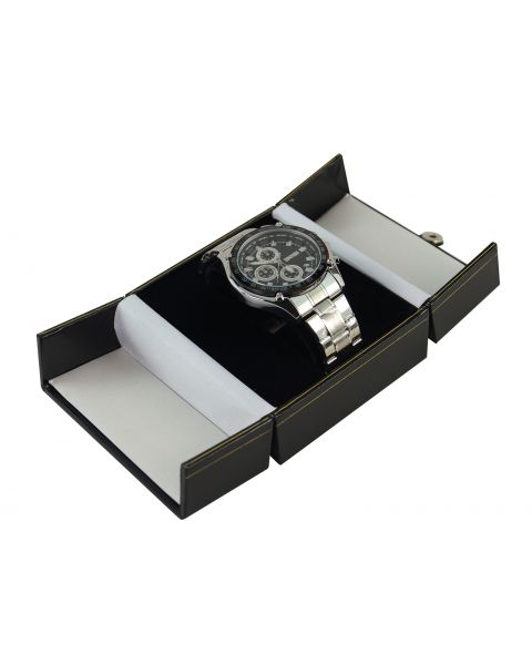 Black Double Door Button Watch / Bangle Box from £5.25 each - (BDW8-BK)