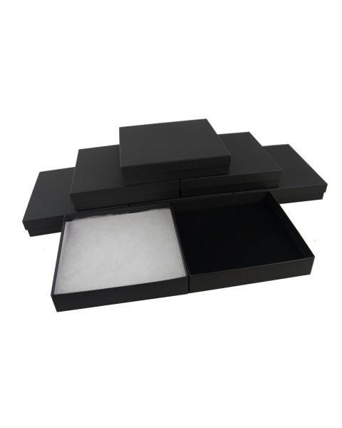 Matt Black Plain Square Necklace / Necklace Earring Sets Large Letter Box (Size 10) from £1.07 each