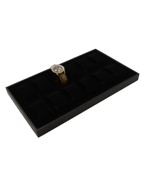 Textured Plastic Tray with 12 Watch/Bracelet Collars (BD2175BK)