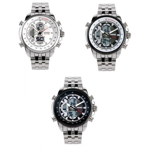 Skmei Men Stainless Steel Silver Strap Water Resistant Quartz Double Time Watch