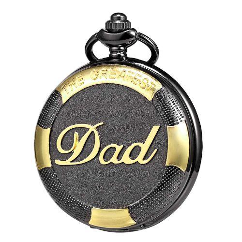 Black & Gold Full Hunter Pocket Watch - The Greatest Dad