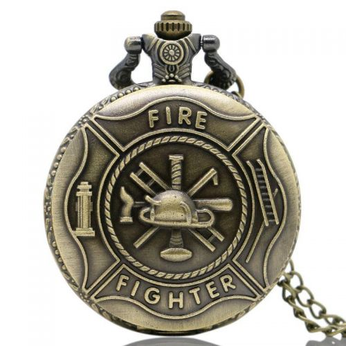 Bronze / Brass Coloured Fire Fighter Pocket Watch with Chain