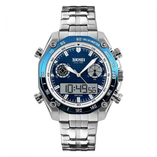 SKMEI Blue Mens Dual Time Digital Analogue Wrist Watch Stainless Steel EL Alarm