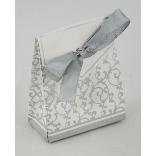 50 x White & Silver Party Favour Gift Box with Ribbon - (415205-77)
