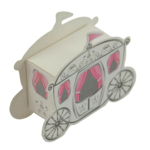 50 x White & Pink Carraige Gift Boxes - (415205-78)