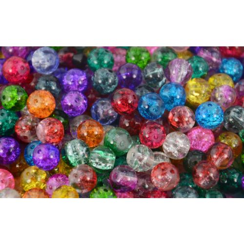 Crackle Glass Beads - 4mm-10mm - Colour Choice - Jewellery Bracelet Necklace Making Bead