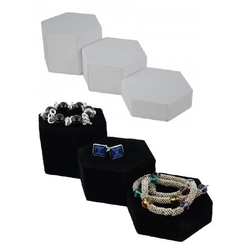3 Piece Hexagon Riser Display Plinths Set - Ascending Jewellery Presentation Blocks