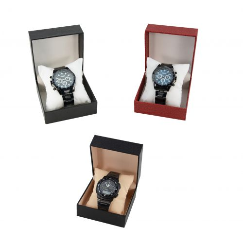 Leatherette Watch Display Box with a Velvet Pillow Insert - Colour Choice