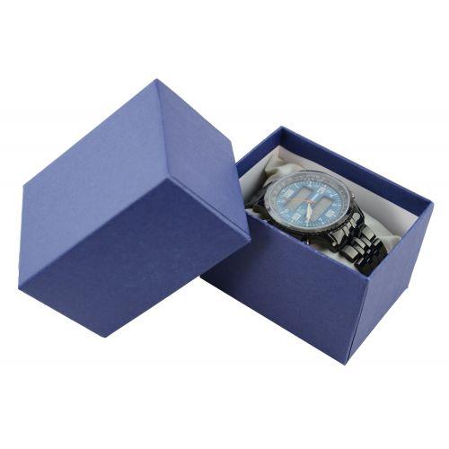 Two Piece Blue Pinstripe Watch / Bangle Pillow Box