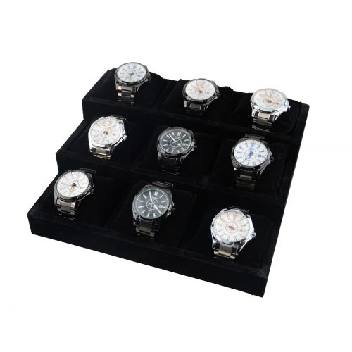Black Velvet 9 Pillow Watch / Bangle Display Stand