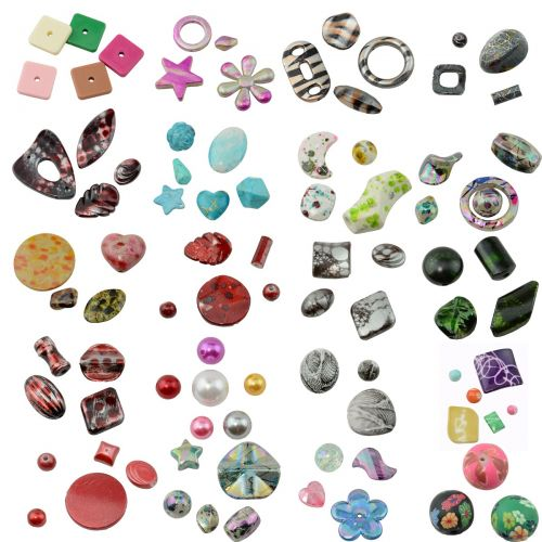 Mixed Shape & Size Acrylic Craft Bulk Beads DIY Jewellery Making Costume Design
