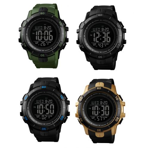 SKMEI Mens 2 Time Watch Sport 50m Waterproof Military Alarm Digital Wristwatch