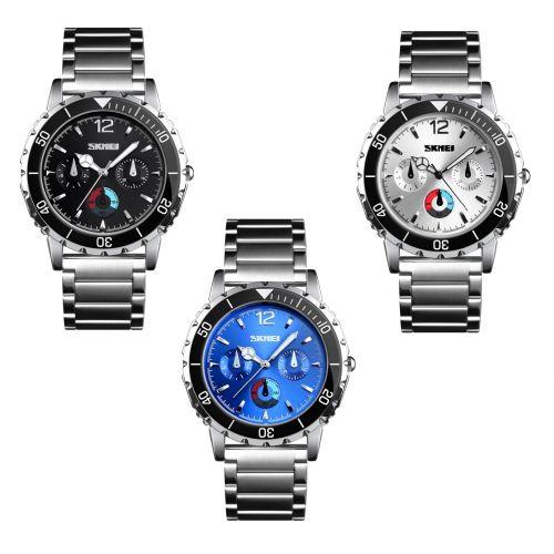 SKMEI Fashion Sport Watch Men Quartz Wristwatch Stainless Steel Link Band