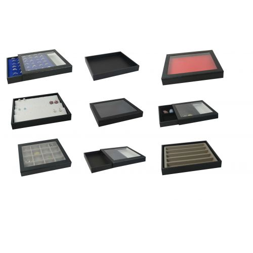 Half Size Magnetic Detachable Acrylic Lid Tray Black & Choice of Insert