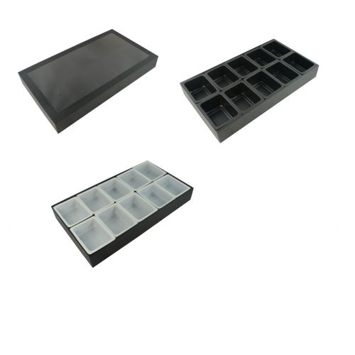 Display Case 10 Velvet lined Compartment Clear Acrylic lid 10 compartment tubs- BD3102/PN2 - Choice of Insert Colour