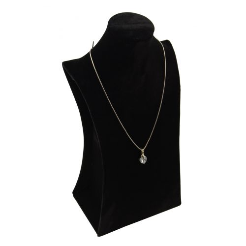 Black Velvet Necklace Pendant Chain Contoured Neckform Tall Display Stand - BDND1102BK