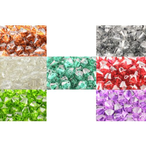 Crackle Glass Bicone Beads - 4mm & 8mm - Colour Choice