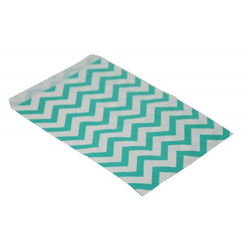100 Teal Blue Chevron Paper Gift Bags From £2.49