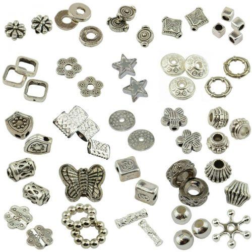 20 Mixed Packs of Metallic Spacer Beads Jewellery Bracelet Making 400+ Beads